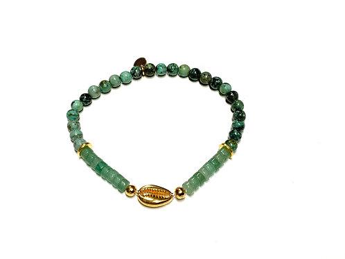 Bracelet en Turquoise Africaine et Aventurine coquillage Cauri