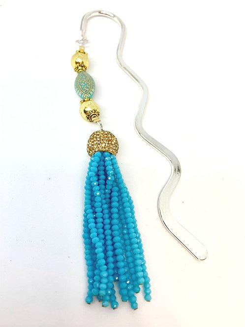 Marque-page pompon en perles turquoises