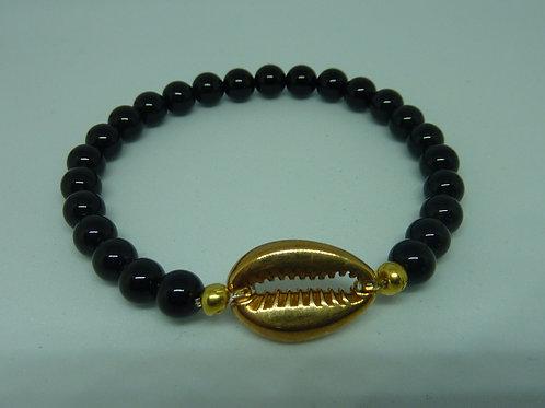 Bracelet Agate noire coquillage Cauri