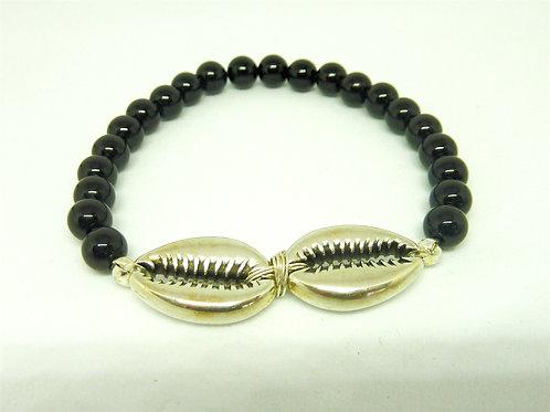 Bracelet Agate noire coquillages Cauri argent