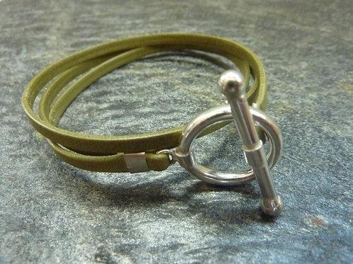 Bracelet ruban cuir kaki