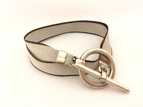 Bracelet ruban gris-beige
