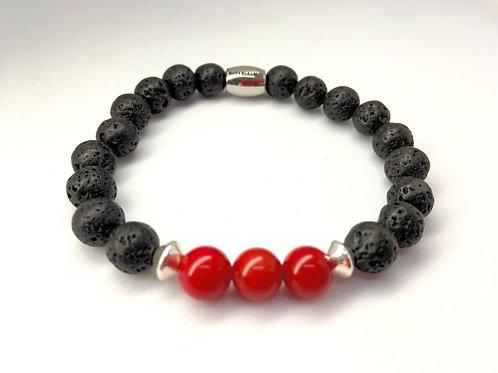 """Bracelet  en Lave et Corail Collection """"BIG"""""""
