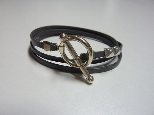 Bracelet ruban cuir gris anthracite 2 pins