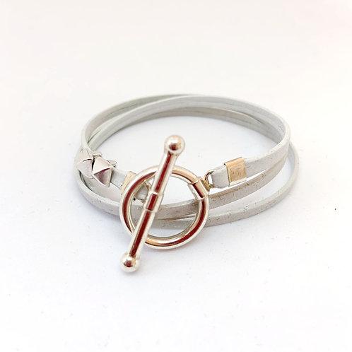 Bracelet ruban cuir blanc 2 pins