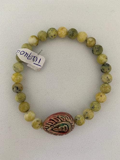 "Bracelet en turquoise jaune Collection Clay ""Bouddha Tears"""