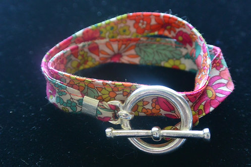 Bracelet ruban Liberty fleurs roses