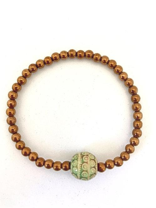 """Bracelet en Hématite cuivrée Collection Clay """"Rondes"""""""