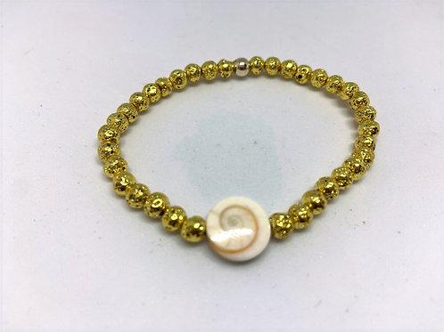Bracelet en lave dorée intercalaire St-Lucie
