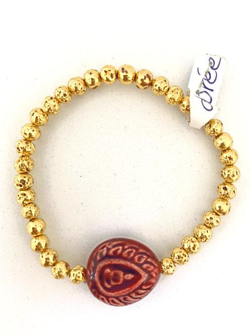 """Bracelet en lave dorée Collection Clay """"Bouddha Tears"""""""