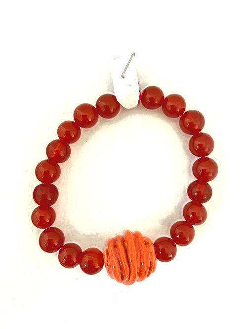 Bracelet en Agate orange Collection Clay