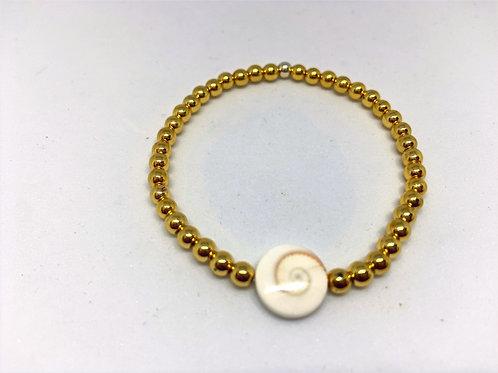 Bracelet en hématite dorée intercalaire St-Lucie