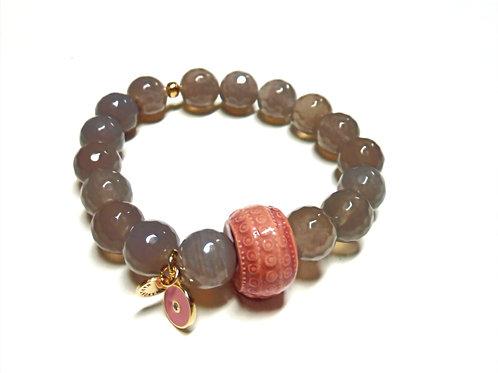 """Bracelet en Agate grise """"Collection Clay"""""""