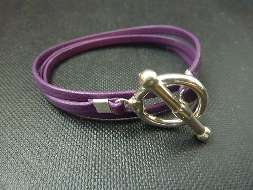 Bracelet ruban cuir violet