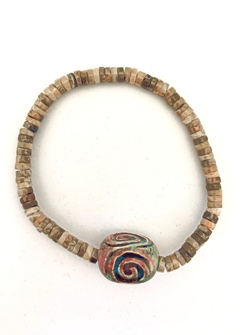 """Bracelet en corail fossile Collection Clay """"Rectangle Spiral"""""""