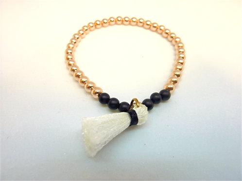 Bracelet en hématite et agate noire