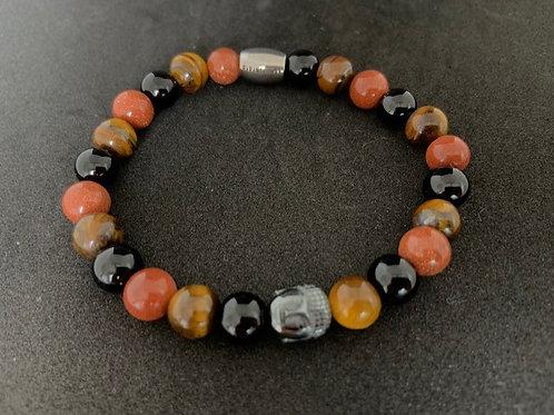 """Bracelet en Onyx, Oeil de tigre et Gold Stone Collection """"BIG"""""""