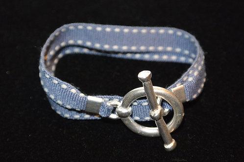 Bracelet ruban surpiqûre gris
