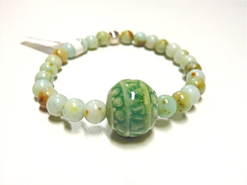 "Bracelet en Jade Albite Collection Clay ""Round"""