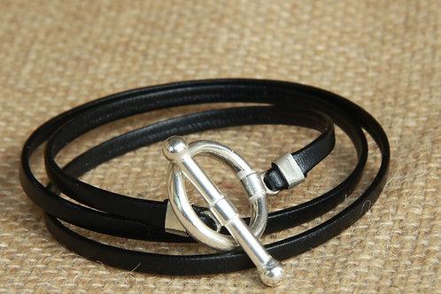 Bracelet ruban cuir noir