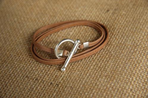 Bracelet ruban cuir camel