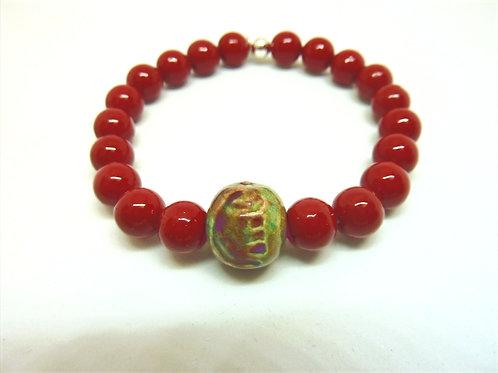 Bracelet en perles de Majorca teintées rouges