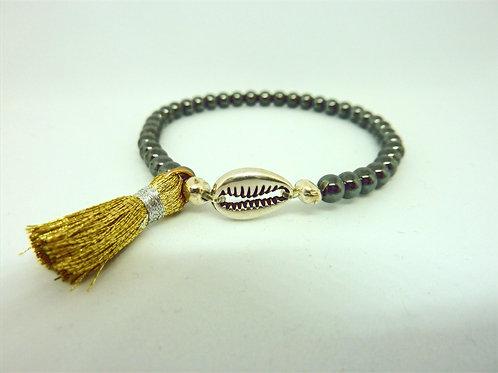 Bracelet coquillage Cauri & pompon