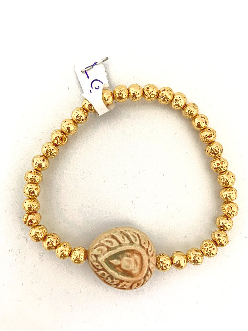 "Bracelet en Lave dorée Collection Clay ""Bouddha Tears"""