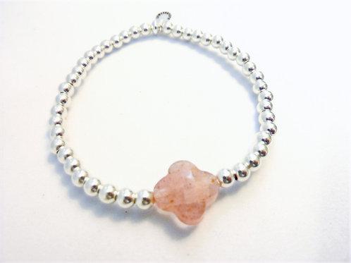 Bracelet en Argent 925 et trèfle en quartz