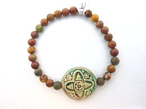 "Bracelet en Mookaite ""Celtic Cross"""