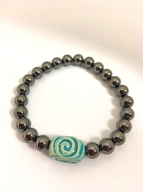 "Bracelet en hématite Collection Clay ""Rectangle Spiral"""