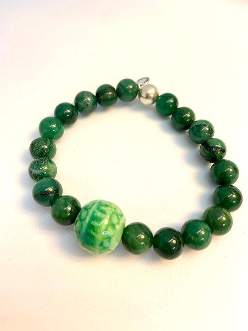 """Bracelet en Jade vert Collection Clay """"Round"""""""