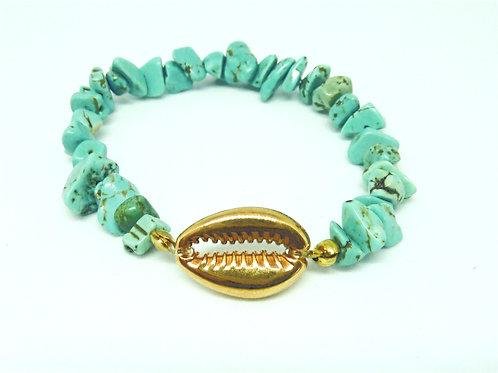 Bracelet Howlite turquoise coquillage Cauri