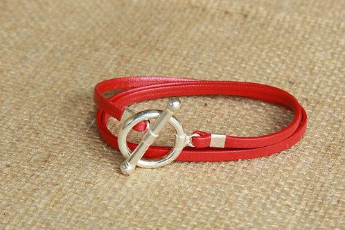 Bracelet ruban cuir rouge