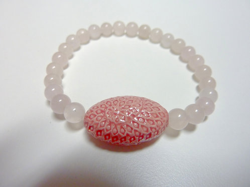 """Bracelet en Quartz rose Collection Clay """"Spiral Oval"""""""
