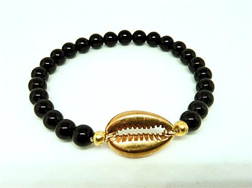 Bracelet Agate noire - Coquillage Cauri