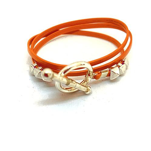 Bracelet ruban cuir orange 4 pins