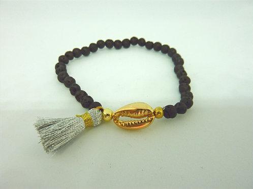 Bracelet en pierre de lave - Coquillage Cauri