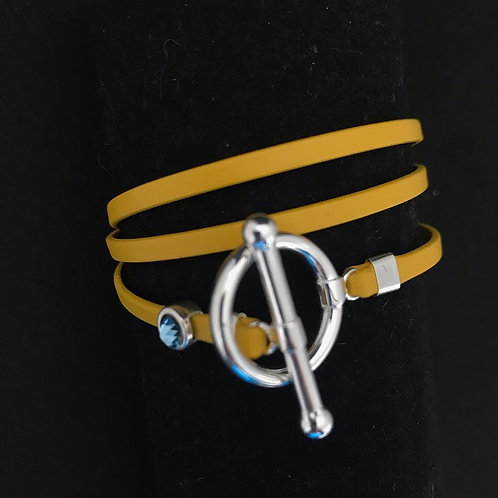 Bracelet ruban cuir jaune pin Swarowski