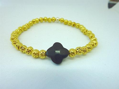 Bracelet en lave dorée trèfle en agate