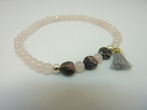 Bracelet en Quartz rose et Rhodonite