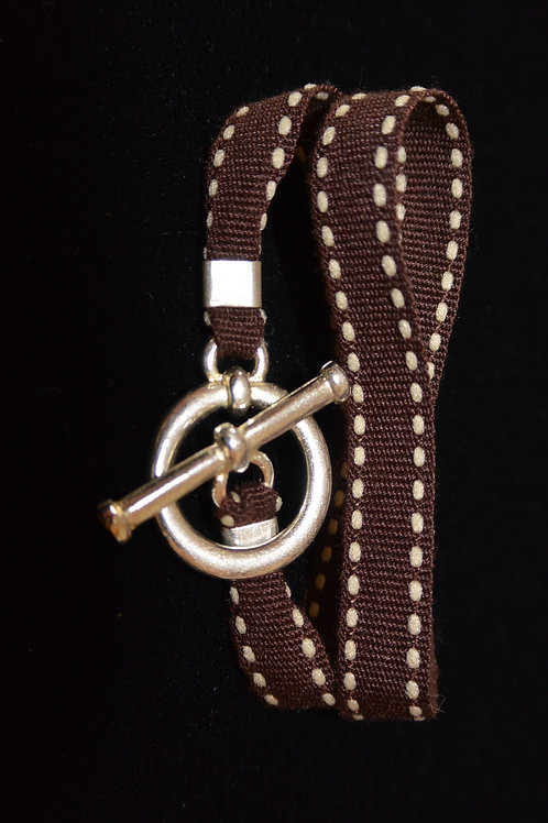 Bracelet ruban surpiqûre chocolat
