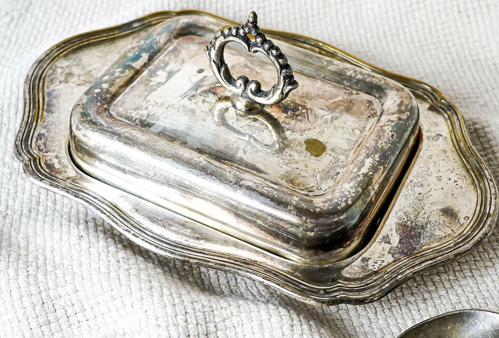 Vintage stříbrná máslenka