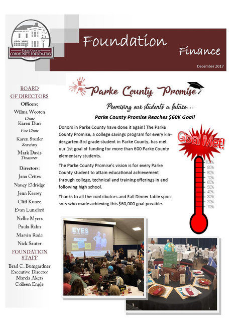 Parke County Promise Reaches $60K Goal!