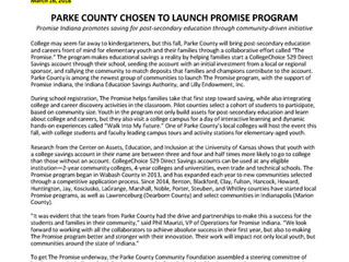 Parke County Accepted Into Promise Program