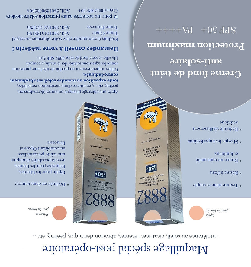Crème visage 8882 Fond de teint très haute protection SPF 50+ sans nanoparticules