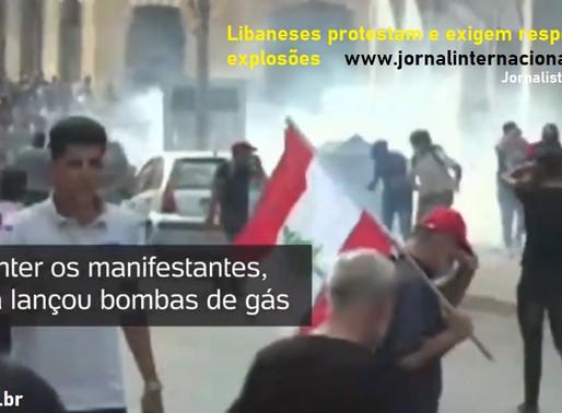 Libaneses protestam e exigem respostas sobre explosões