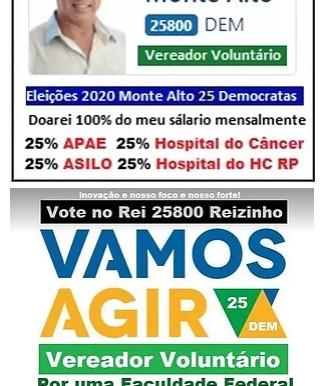 Eleição 2020 Reizinho 25800 por Monte Alto - SP