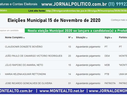 Eleições Municipal 2020 começa 27 de Setembro com 5 candidatos(a) a Prefeito por Monte Alto - SP