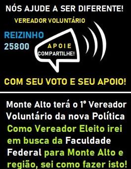 VEREADOR VOLUNTÁRIO 25800 REIZINHO 1° A FAZER UMA NOVA POLITICA